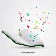 Book with confetti vector | Free Vector